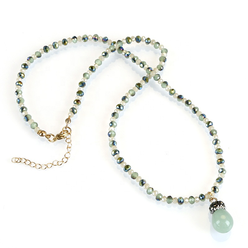 Green Aventurine Drop Pendant Necklace , Beaded Chain Necklace