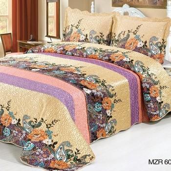 Applique Colorful Strips King Size Bed Sheet Set Mzr607 - Buy Bed ...