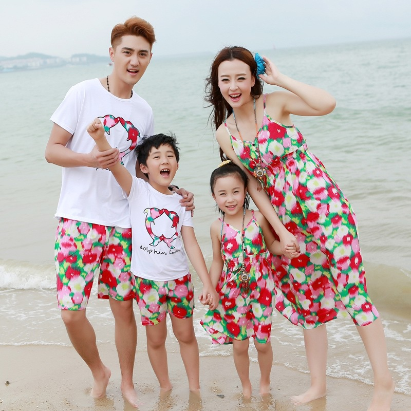 Family clothing Suit matching clothing Parent And Kids Summer O-neck Watermenlon Printing T-shirt Pants & Braces Dress Set