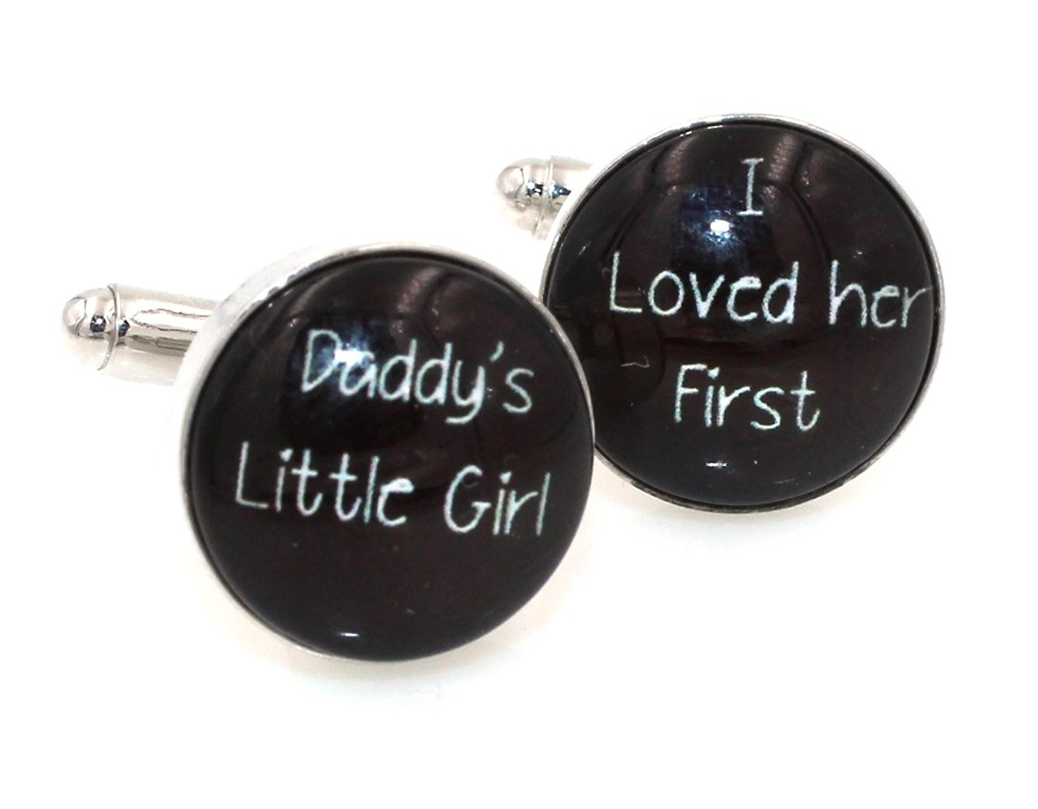 Steampunk I LOVED HER FIRST - DADDY'S LITTLE GIRL Cuff Links Mens Cufflinks Wedding Father of the Bride Groomsmen Black and White- bolddaddy