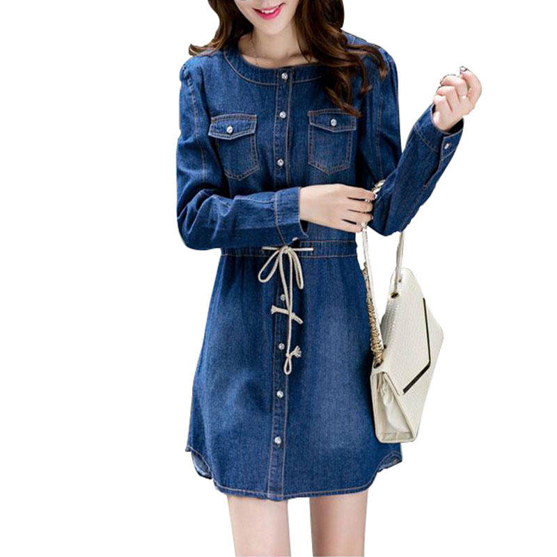 16943f59dbb0 Get Quotations · Women Dress 2015 Long Sleeve Denim Dress Winter Autumn  Brand Loose Womens Jean Dress Plus Size