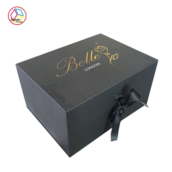 High quality luxury custom empty foldable large christmas gift box with ribbon