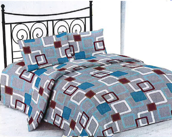 Microfiber Printed Bed Sheet Set With Square Design