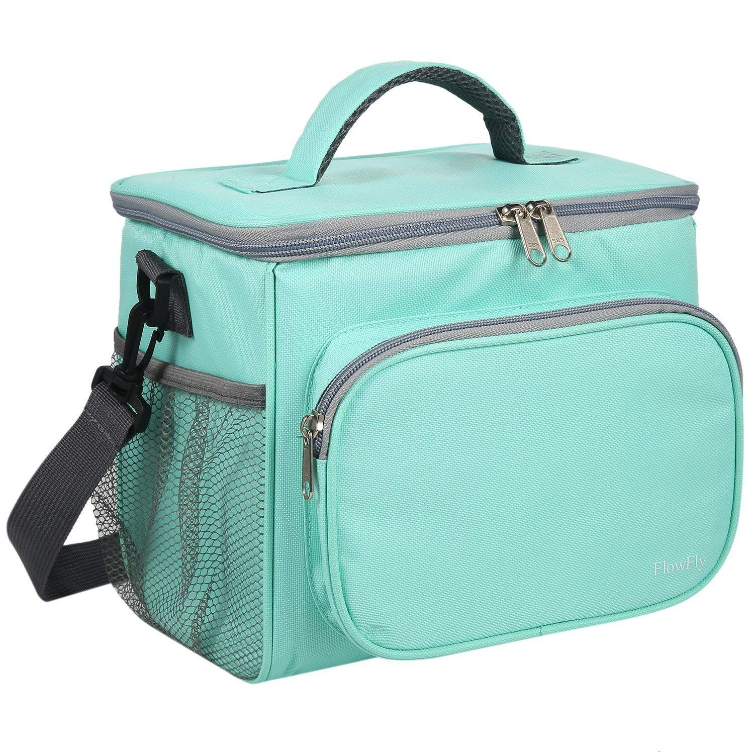 Lunch Bag Large Capacity with Adjustable Shoulder Strap Tote Box Soft Reusable Leakproof Liner For Adults/Men/Kid/Women Insulated Fashionable Travel/Work/Picnic/Camping/School Green