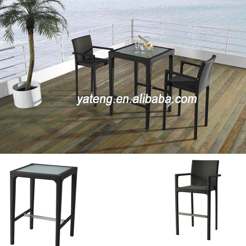 en gros en osier jardin bar meubles ensemble utilis la maison en rotin table de bar et tabouret. Black Bedroom Furniture Sets. Home Design Ideas