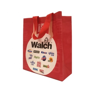 Eco Friendly Custom Ultrasonic Coloured Red Non Woven Reusable Shopping Bag
