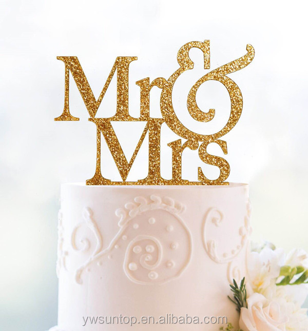 New Glitter Gold Mr&Mrs Acrylic Cake Topper Cheap Wedding Accessory