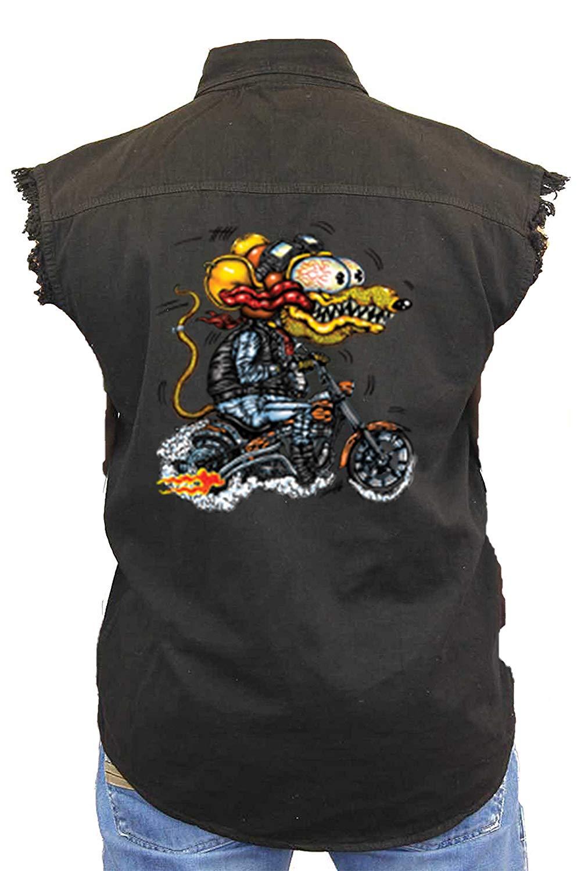 6479efbf35 Get Quotations · SHORE TRENDZ Men s Sleeveless Denim Shirt Crazy Biker Rat  Biker Vest