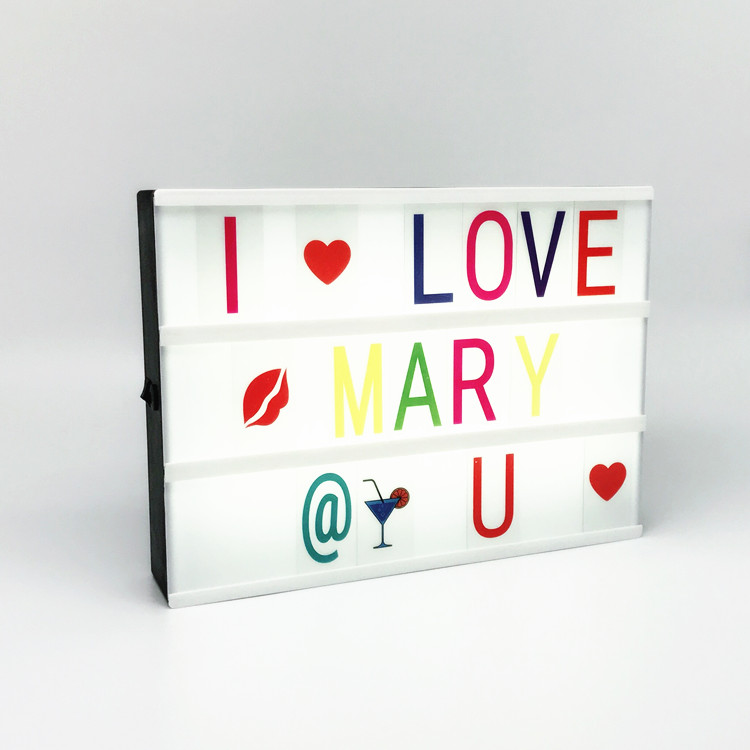 A4 size cinema sign light box with letters,DIY photo movie cinema lightbox