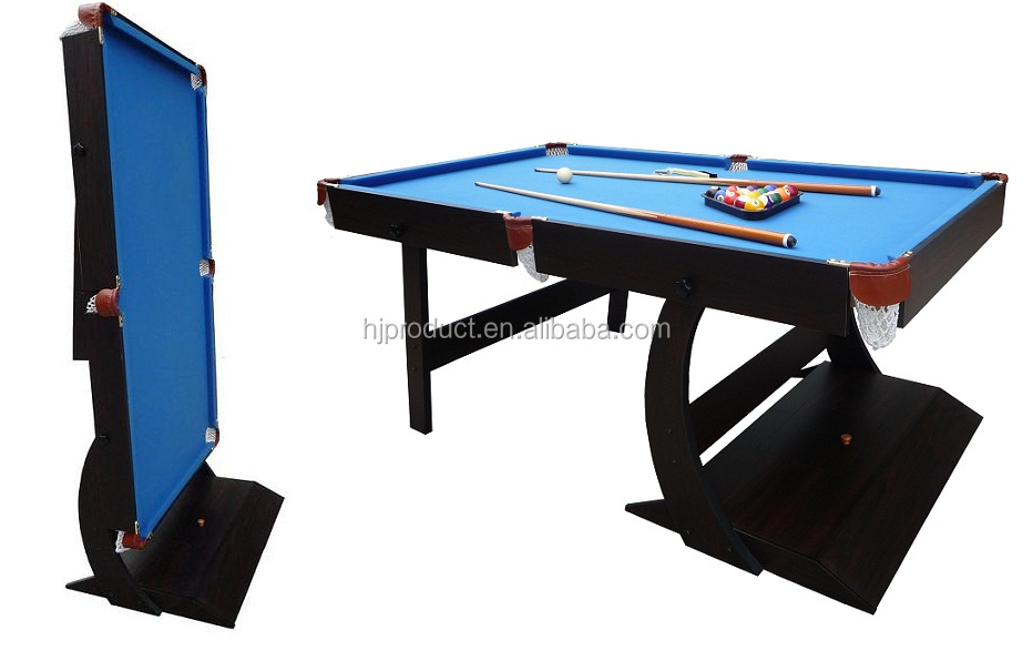 Mdf Collapsible Pool Table Bule Wool Felt Folding Up Billiard For Foldable Top Wooden