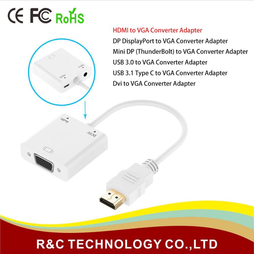 Vga Converterhdmi Mini Dp Displayport Dvi Usb 30 Type C Konventer To Hdmi