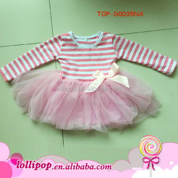 59f46d0796c30b 100% Cotton Girl frock Kids Children's pink Striped Dresses ruffled tutu dress  Baby newborn clothes