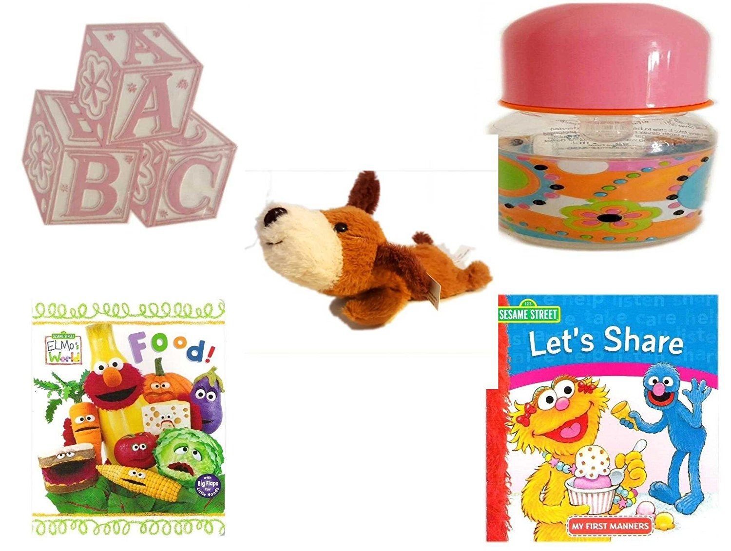 Children's Gift Bundle - Ages 0-2 [5 Piece] - ABC Baby Blocks Cake Topper Pink Girl - ID Gear Baby Bottle Pucci Look 4 oz - Soft n' Cuddly Big Head Puppy - Elmo's World First Flap-Book - Food. - Ses