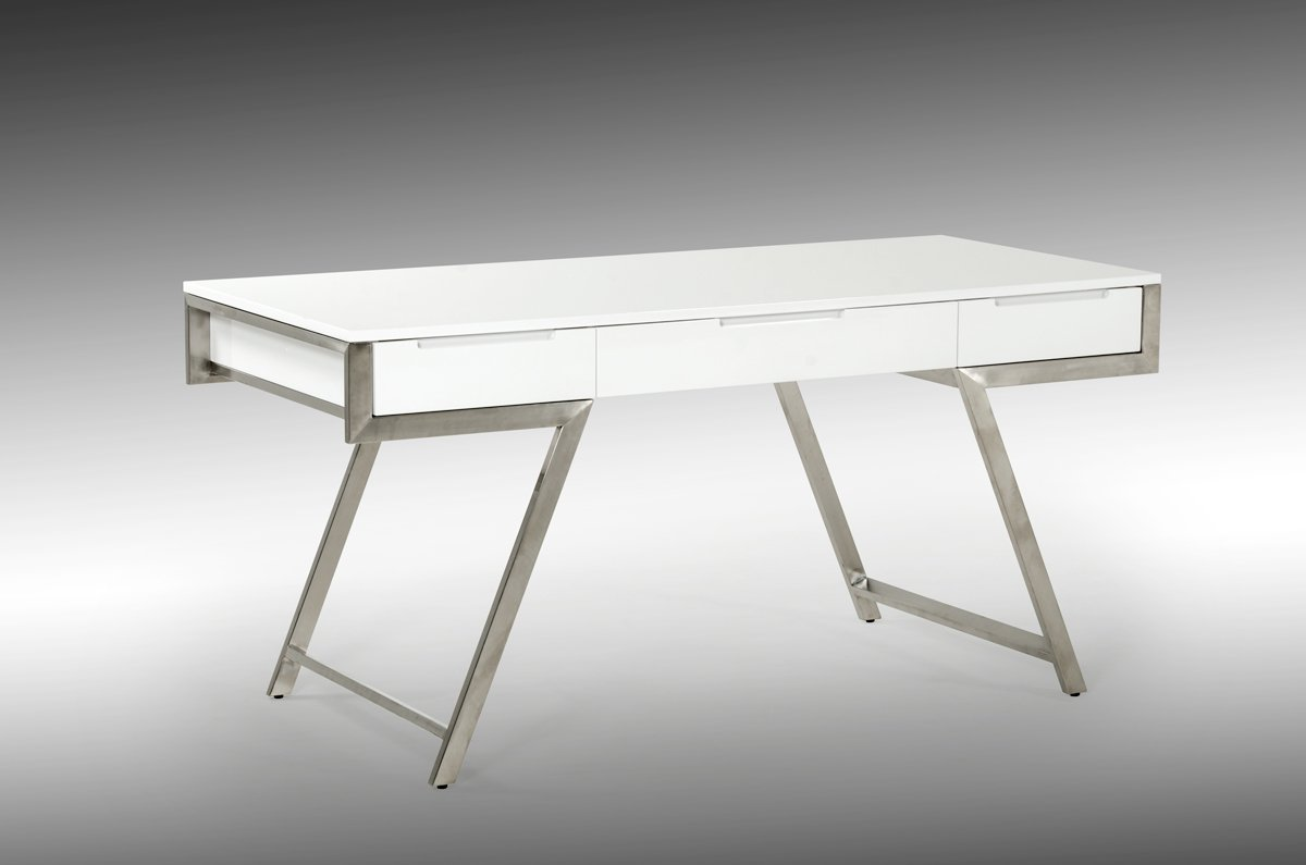 VIG Furniture Modrest Dessart Collection Modern High Gloss Finished Desk with 3 Drawers and Stainless Steel Legs, White
