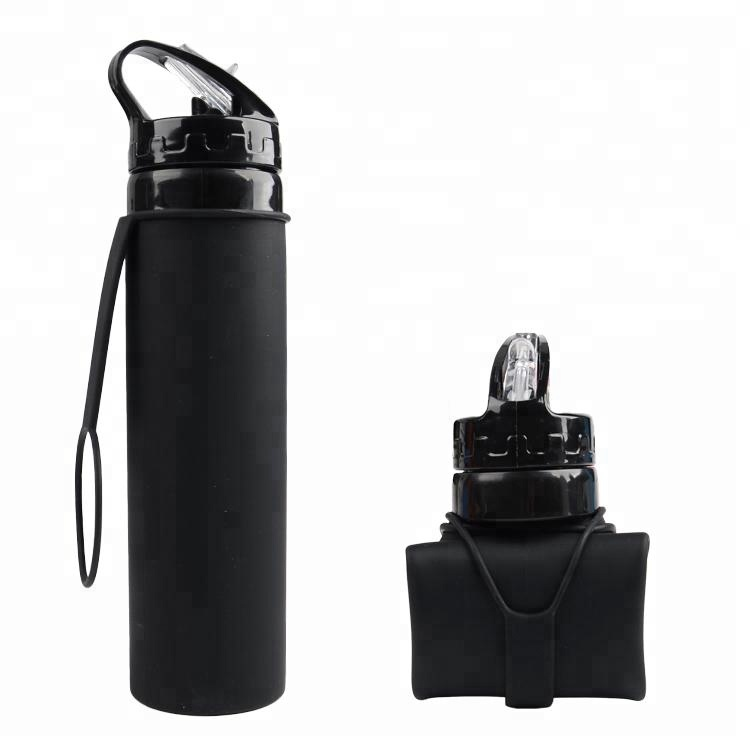 Alibaba.com / 600ml Private Label Outdoor Sports Portable Collapsible Drink Water Bottle Foldable Silicone Bottle With Custom Logo