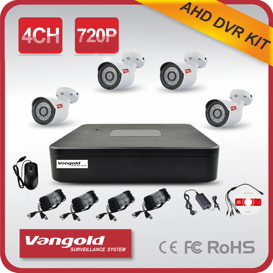 720P AHD 4CH Cheap CCTV DVR Kit Factory Price Outdoor Use CMS Free Software
