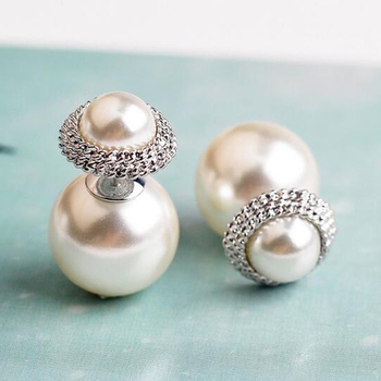 d911a275ba89c New Products Double White/gold Pearl Stud Earring Round With Gold/silver  Alloy Designs For Women - Buy Earring Jewelry Boxes,Double Sided Pearl ...