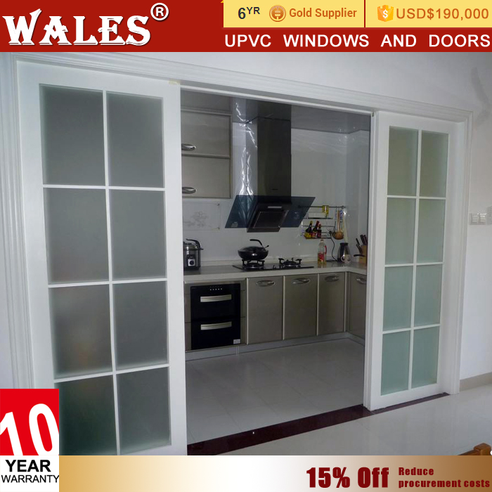 High Sealing Sliding Upvc Bathroom Tempered Frosted One Way Glass Door