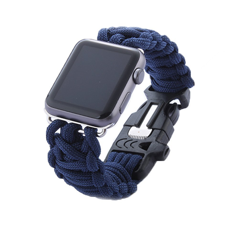 Apple Watch Band, izone2016 Outdoor Survival Sport Buckle Bracelet Watch Band Strap Watch Strap Band for Apple Watch Band With Whistle and Flinstone42mm&38mm (Blue 42mm)