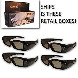 3DTV Corp® 3D Window® DLP LINK 3D Glasses (FOUR) for ALL 3D Ready DLP Projectors and ALL Samsung® and Mitsubishi® DLP TV's
