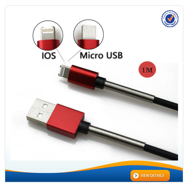 AWD201 High Quality 2 in 1 Metal Spring Cable Data for iphone Cable Charger USB Micro Cable