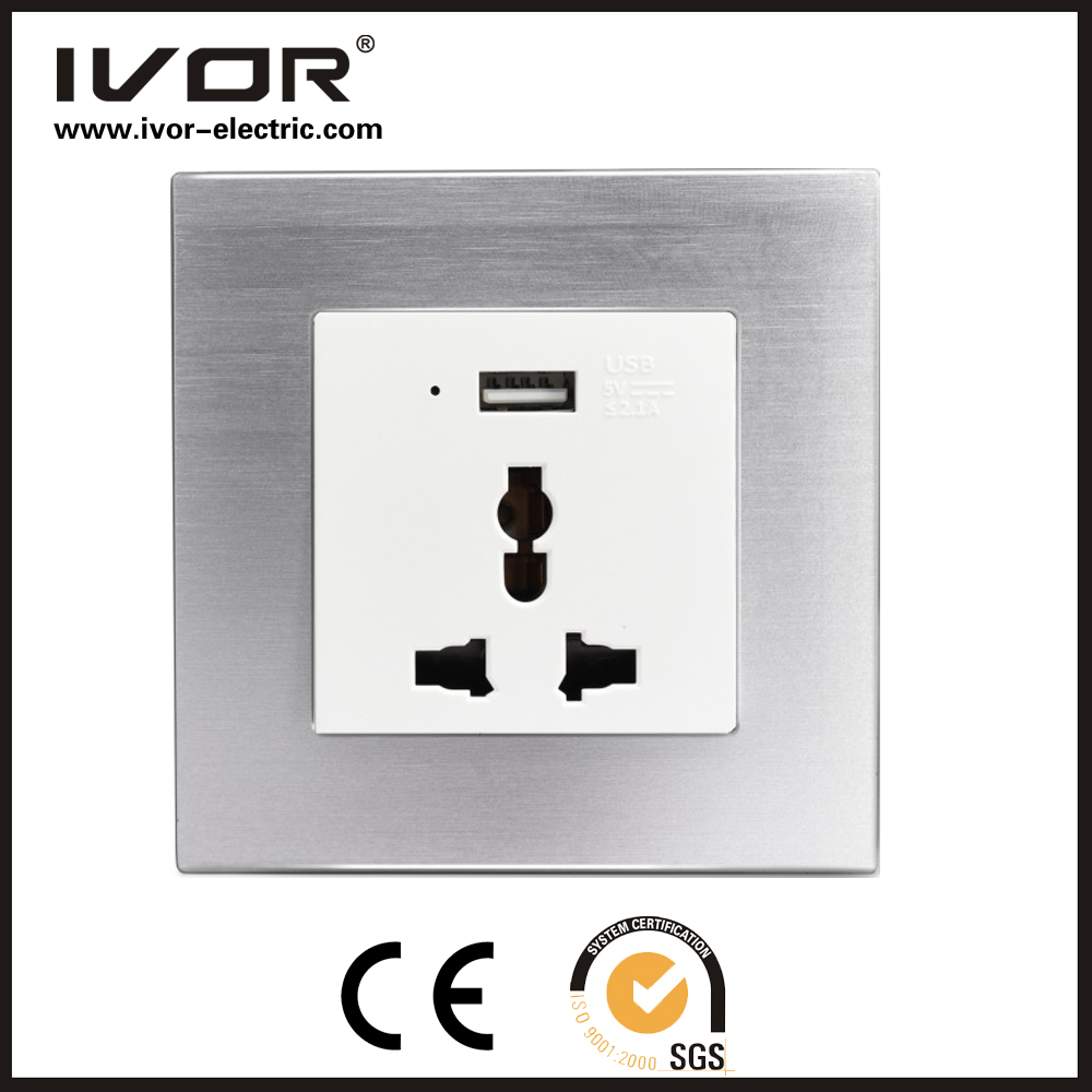 2016 new design IVOR aluminum uk usb wall socket with 2 usb port good reputation cool south africa wall socket switch
