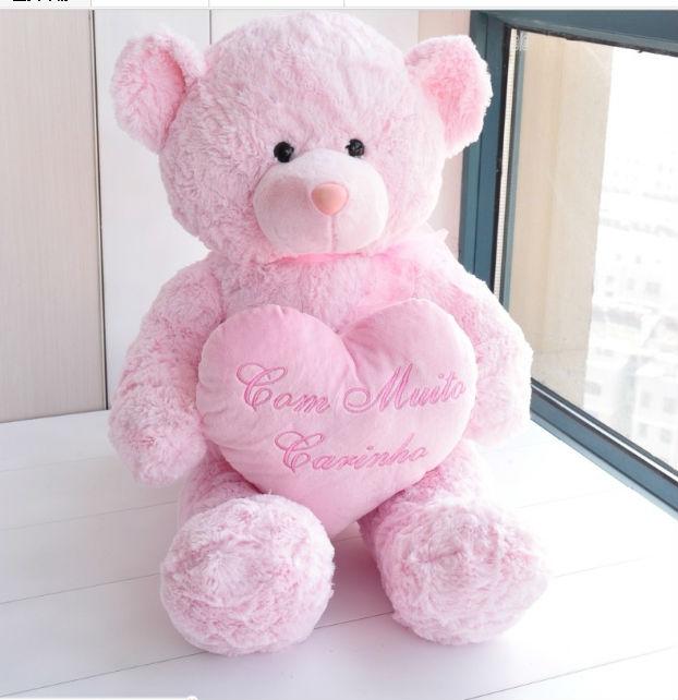 Personalizzato Carino Peluche Rosa Orsacchiotto Con Amore Cuore