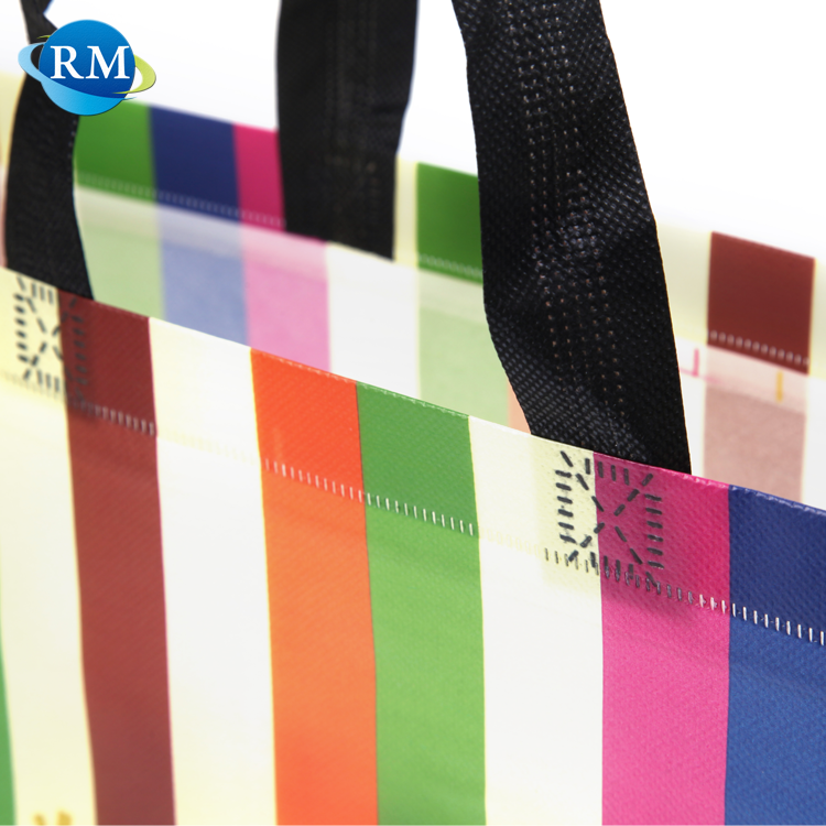 Personalised Colorful Striped Foldable Tote PP Non Woven Shopping Bag