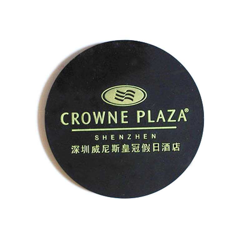 Hot Custom LOGO round shaped black Soft pvc rubber cup drink coaster