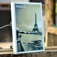 Unique products printing transmission tower hologram greeting postcard glossy paper cut