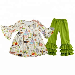 baby clothes wholesale price toddler girls boutique stripe long sleeve fall/winter warm ruffle pants set outfit remake garments