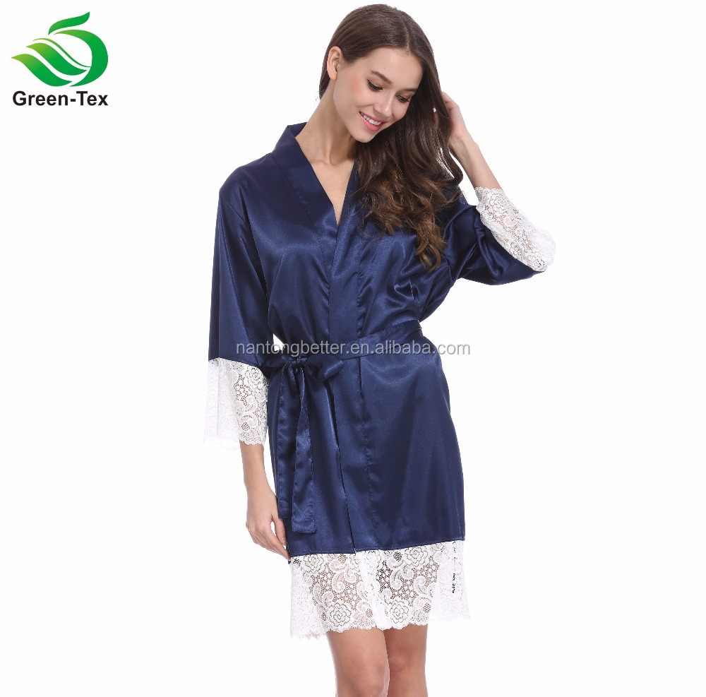 Colorful Fashion and Soft Women Silky satin Shiny Kimono Bride Robe With Lace