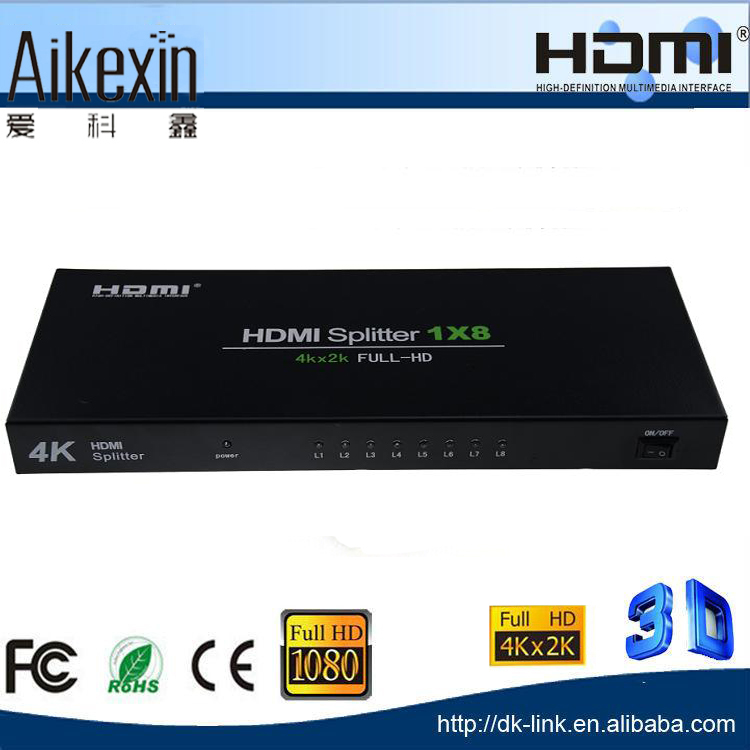 For Multimedia Display 8 Port 4Kx2K hdmi splitter 1x 8 HDMI 1.4V + IR remote control powered for Blue Ray