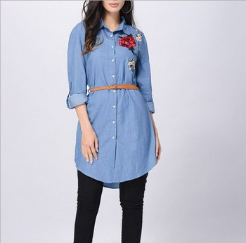 9d7bca90817 he20230a Hot style European and American ladies jeans long sleeve shirt  hand-embroidered dress
