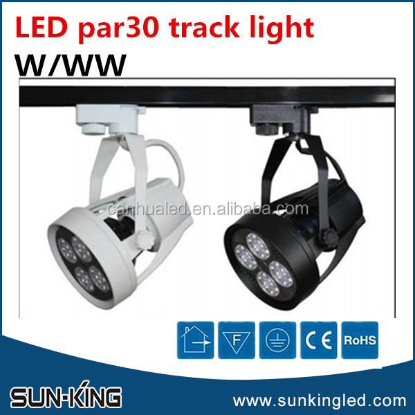 Popular high power shopping mall track spotlight white black shell 2700K-3200K PAR30 led track rail lighting 35W
