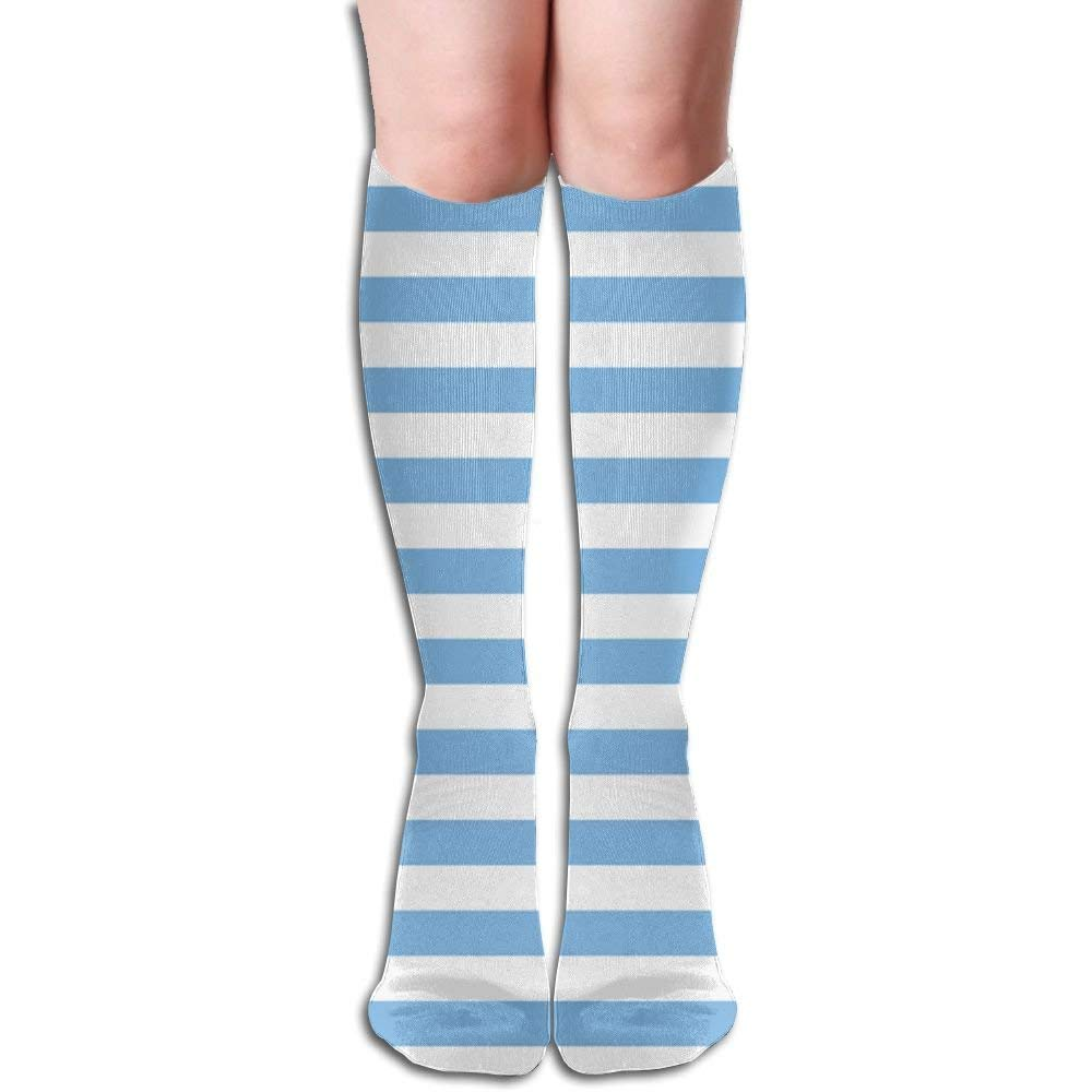 89ea530adb1 Get Quotations · KLQ Blue White Stripes Knee High Crew Socks Knee High  Stockings For Indoor And Outdoor Sports