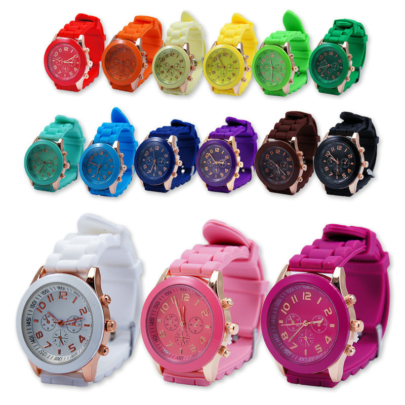 Most popular stainless steel back geneva quartz watches.14 colors stock women silicone watches geneva.