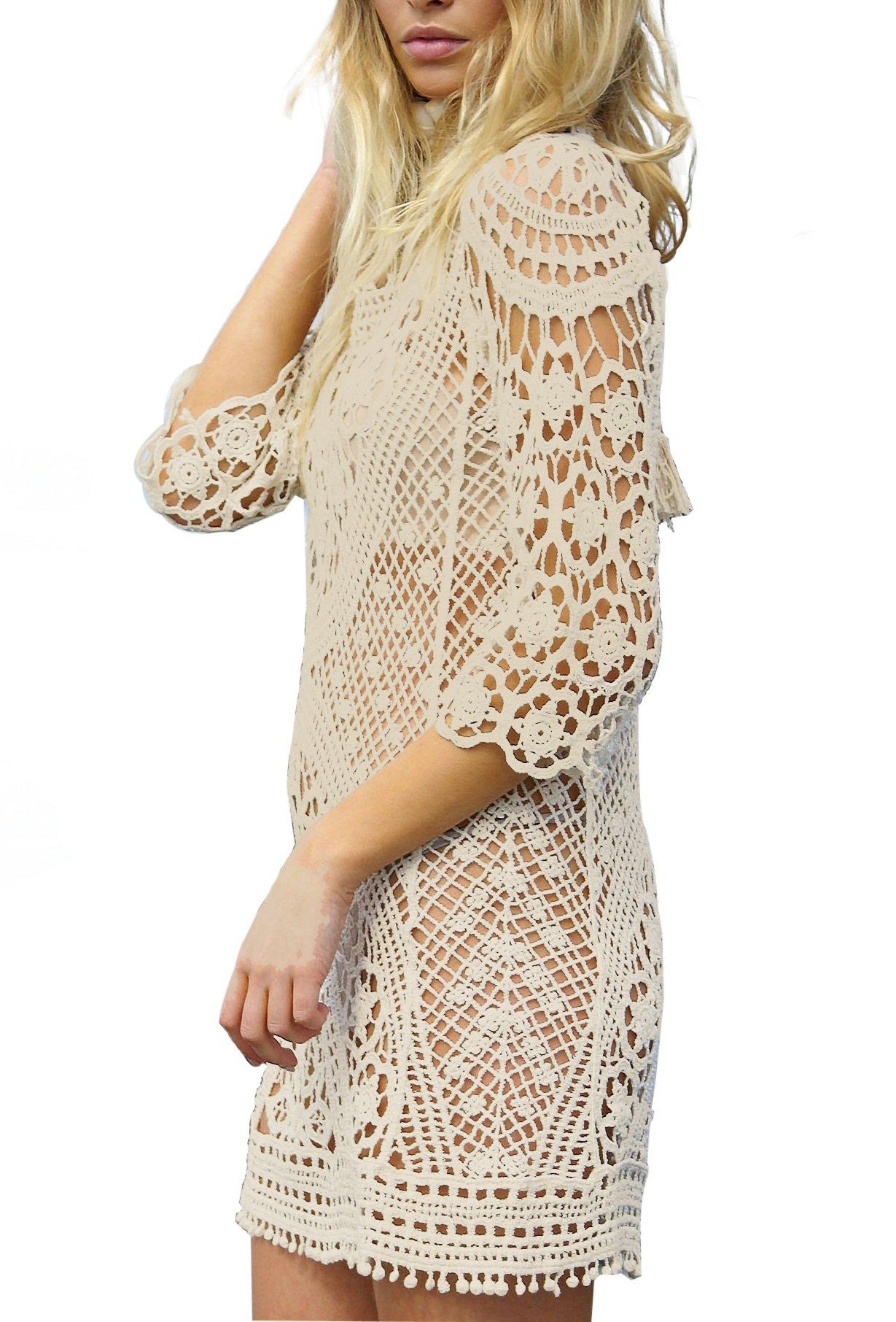 9aee5964c0d3 Get Quotations · Women s Bathing Suit Cover Up Crochet Lace Bikini Swimsuit  Dress