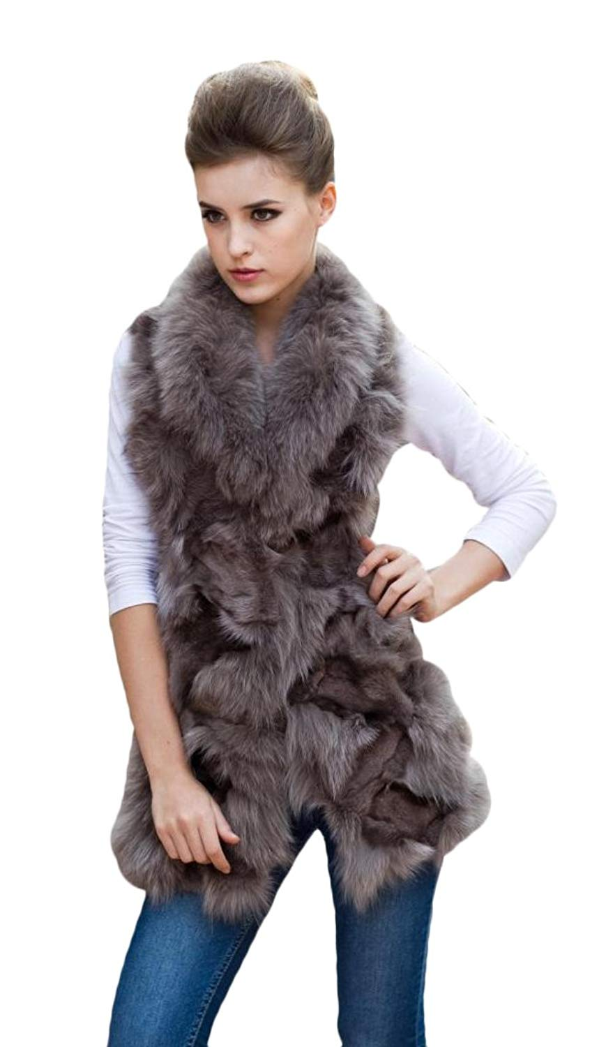 de2ab8bb3e3 Get Quotations · Queenshiny Long Women's 100% Real Fox Fur and Sheep Skin  Vest with Fox Collar