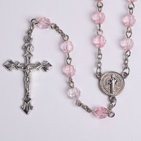 Girl's Pink Clear Plastic Beads Rosary with ST BENEDICT MEDAL Bulk Wholesale