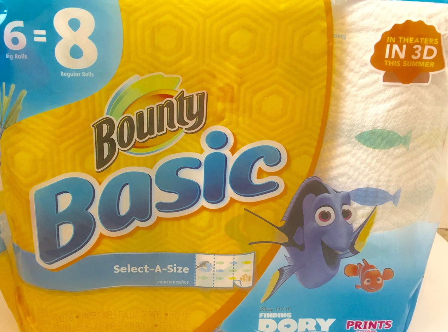 Bounty Basic Select-A-Size Paper Towels, Finding Dory Prints, 6 Big Rolls Equal to 8 Regular Rolls, 6 Count