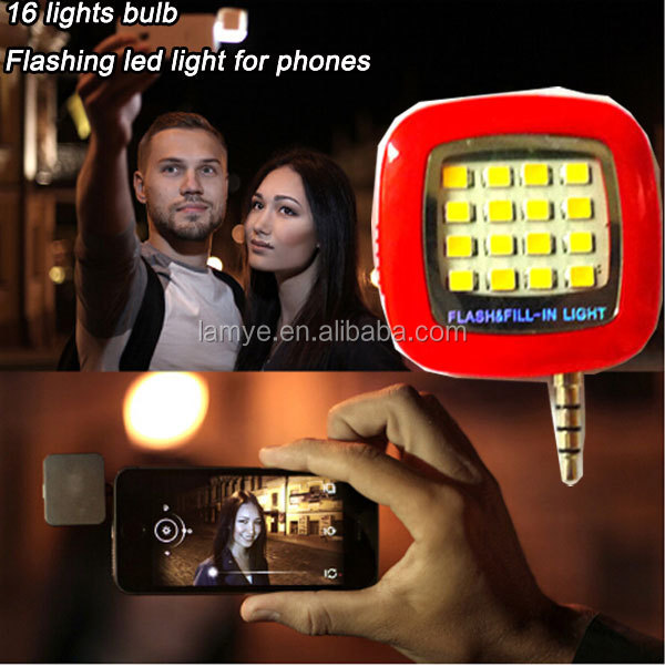Portable Phone Selfie Mini 16 LED Flash Fill Light Enhancing For Iphone for Android