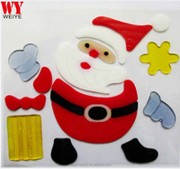 Hot selling Sanata Clause Christmas jelly gel window stickers