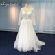 Long sleeve custom made A line applique bride's wedding gowns bridal dresses
