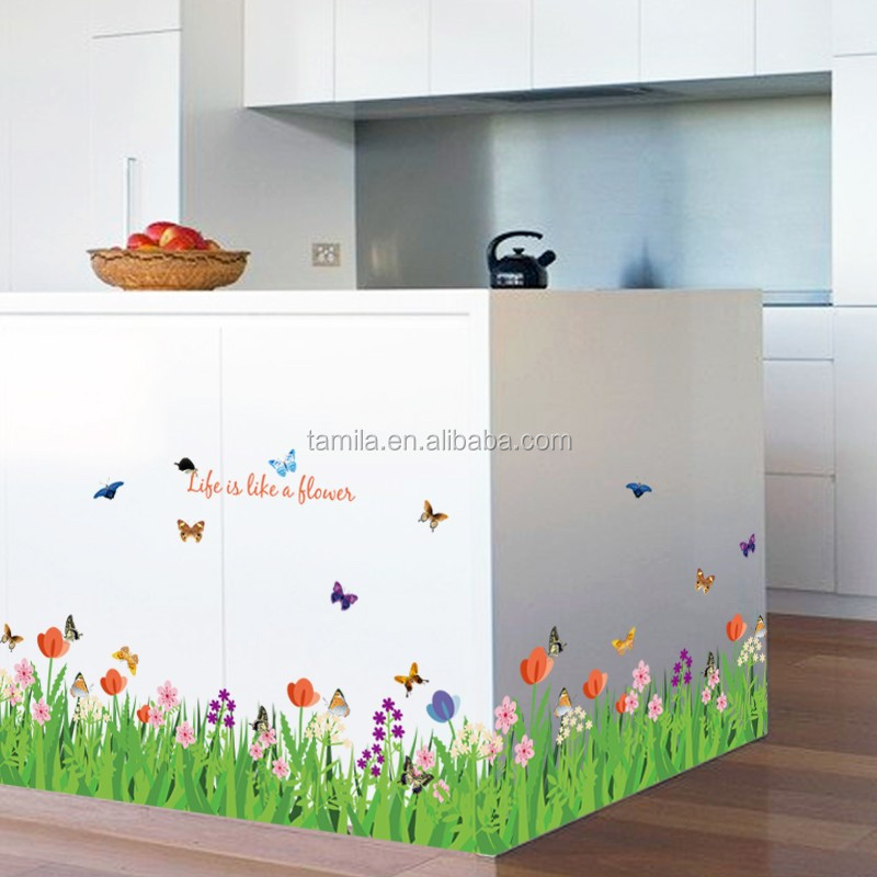 Flower wall decal sticker,butterfly pvc wall sticker,colorful wall border sticker