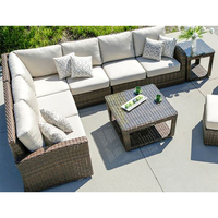 Hot Sale all weather outdoor furniture rattan sectional L shape soft sofa set