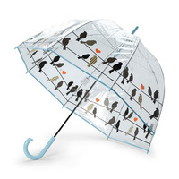 Totes Women's Clear Bubble Umbrella Birds Cage Umbrella Fiberglass Flowers Umbrella
