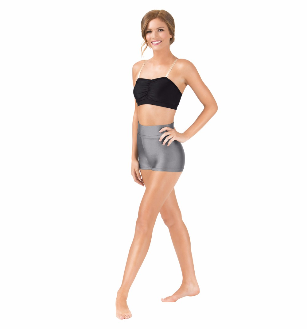 Womens Crescent Moon and Star V301 Black Yoga Workout Booty Shorts Black