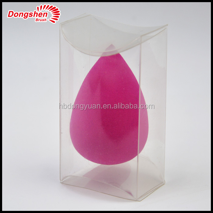 raindrop shape make up sponge PVC box ,latex freee hydrophilic makeup sponge
