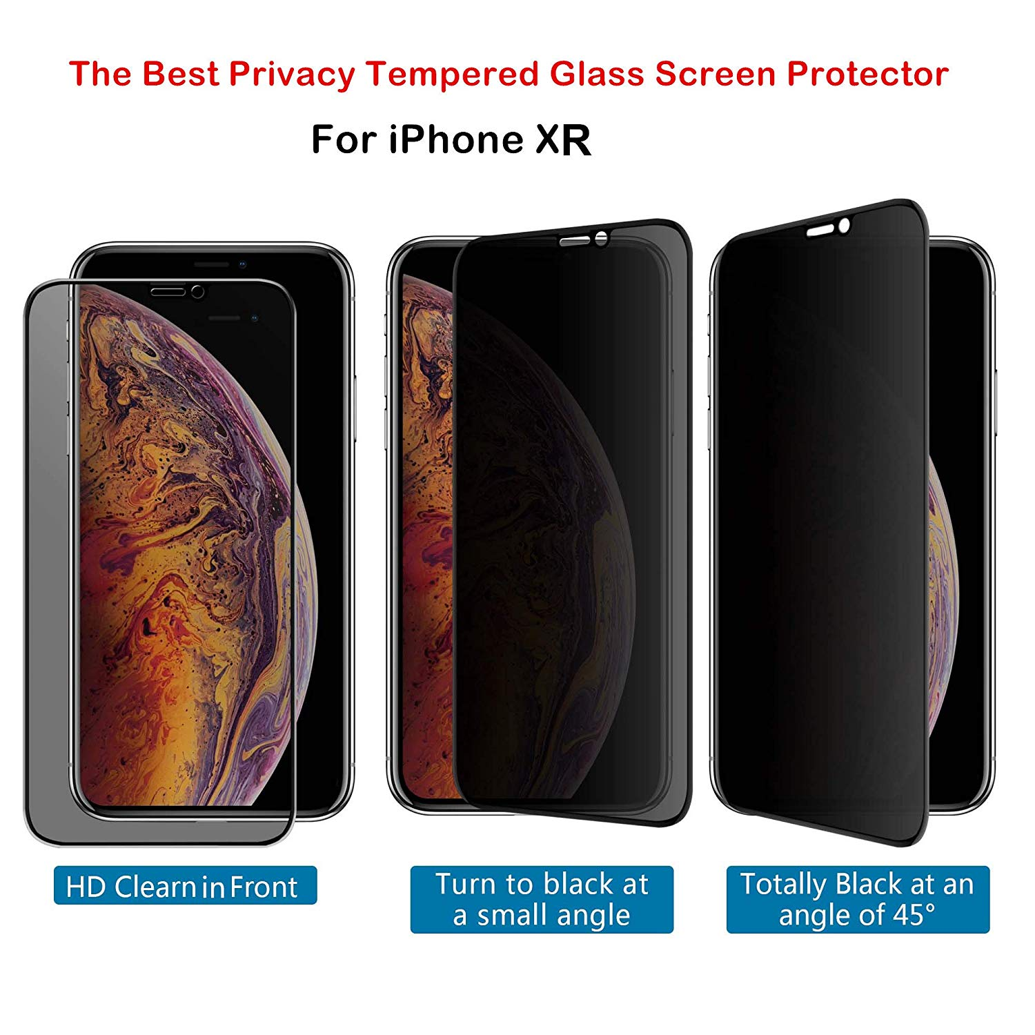 Premium Privacy Tempered Glass Screen Protector for iPhone XR,Full Coverage Protection,HD Clarity,Bubble Free Film
